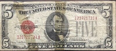 USA 5 Dollar 1928 F United States Note Red Seal Banknote Schein Five $5 #11996