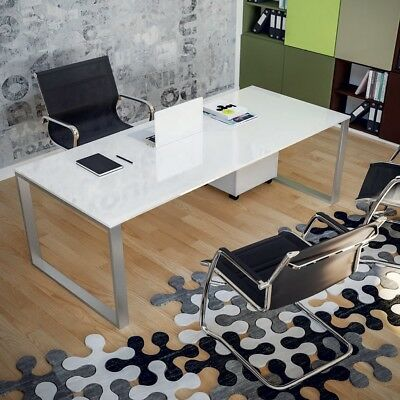 Desk professional glass Color steel satin plan glass lacquered