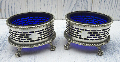 Antique pair silver plated salt cellars with cobalt glass liners, Georgian style
