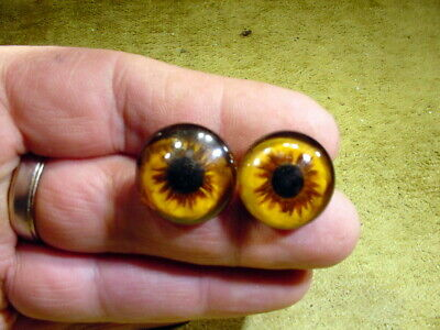a pair vintage solid doll glass eyes 21 mm for bisque doll doctor age1910 A 3137