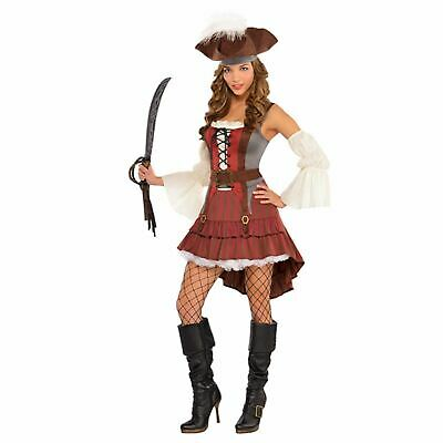 Adults Castaway Dress Sparrow Costume Caribbean Pirates Womens Fancy Outfit