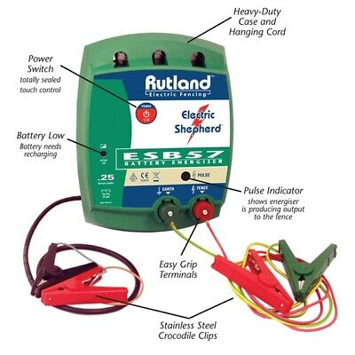 Rutland Electric Fencing ESB57 Battery Energiser 12V 3 year UK warranty