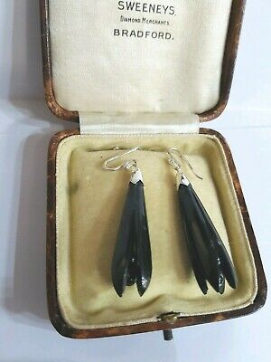 Antique  Whitiby Jet Large Bell Flower Earrings Superb Quality Goth