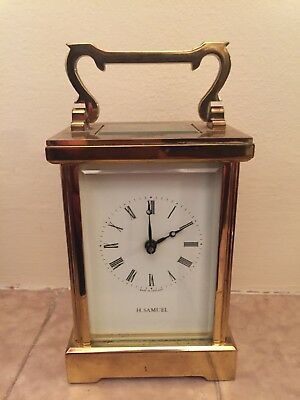 "H Samul Brass Case Timepiece white enamel dial Carriage Clock , c1900 GWO 4.5""H"
