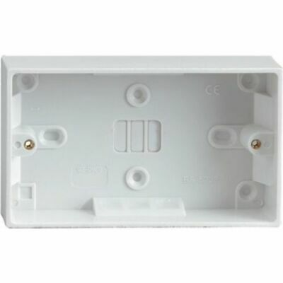 Double Twin 25mm White Wall Pattress Back Box 13 Amp,2 Gang Electric Socket