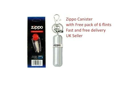 Brand new Zippo Fuel Canister Keyring with Free Zippo Flints 6 pack Gift set