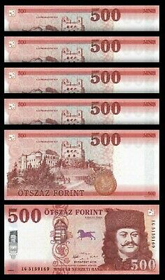 Hungary 500 Forint 2018 (2019) , UNC , 5 PCS LOT , Consecutive , P-New Design