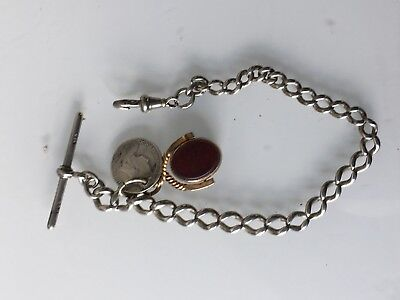 Antique Silver Graduated Pocket Watch Albert Chain with T bar with 2 fobs