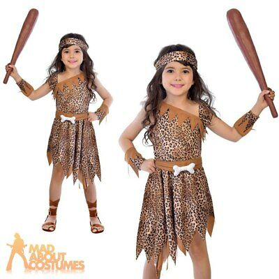 Kids Cave Girl Costume Childs Stone Age Caveman Book Day Girls Fancy Dress
