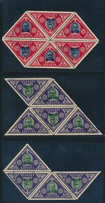 Lithuania. 1933. 8 used sets in blocks