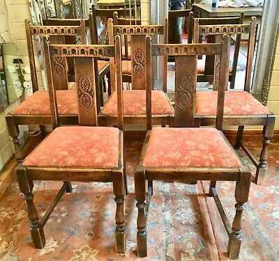 Four Quality Solid Antique Oak Dining Chairs Drop In Seats Carved Detail