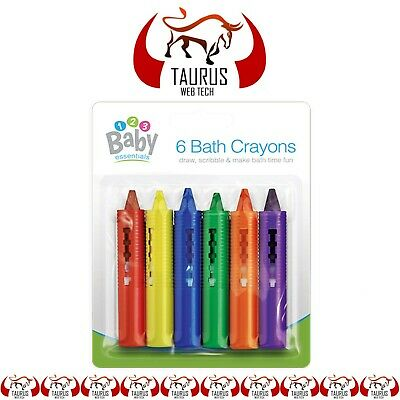 Educational Baby BATH Crayons Fun Toy NON Toxic Washable Pack Of 6 Colours UK