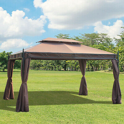 Outsunny 10x13ft Garden Gazebo Double-Tiered with Curtain Outdoor Shelter