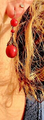 Coral Earrings  French Silver Metal Arts And Crafts Dangling Delighful