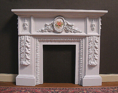 CARVED  FIREPLACE ~ Dollhouse Miniature ~ Vintage Glass ~ 1:12  scale ~ Room Box