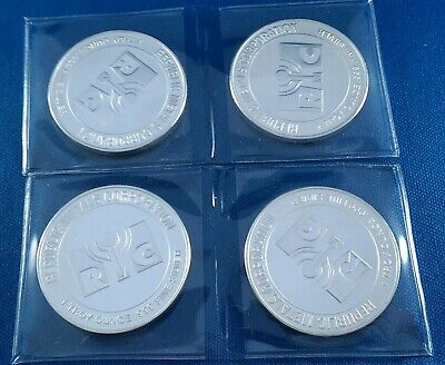 Lot of 4 Republic Metals Corporation RMC 1 Ounce .999 Silver Rounds