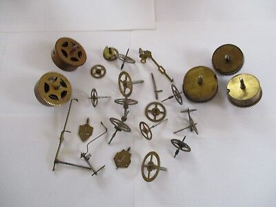Clock parts from Vintage/Antique mantle clocks, including 5 mainsprings