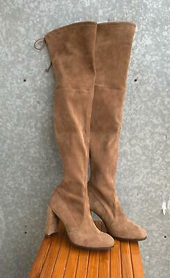 861392f9526 New  798 Stuart Weitzman Hiline Over The Knee Nutmeg Suede Boots Sz 7.5