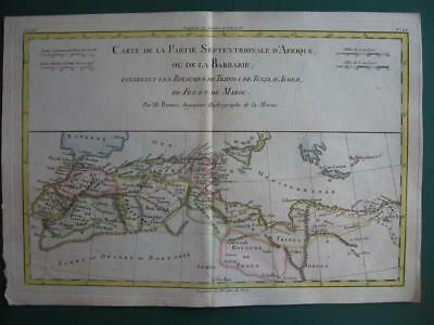 1780 Bonne  Map Northern Africa  Morocco Algeria Tunisia Libya Mediterranean Sea
