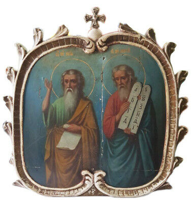 Antique 19th C Russian Hand Painted Wooden Icon (66 cm) of St.Elias and St.Moses