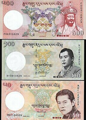 Bhutan 3 PCS SET , 50 100 500 Ngultrum , 2011 2013 2015 , UNC , P-31b 32c 33b