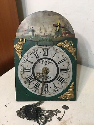 Antique Dutch Wall Clock Movement W/ Animated Moving  Parts Dial Hood Tail style
