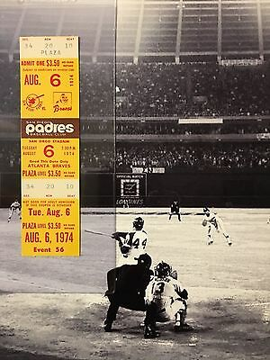 Hank Aaron Home Run Ticket HR #727 and #728 August 6 1974 Henry