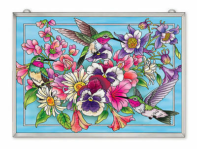 """AMIA STAINED GLASS 15.5"""" x 11"""" HUMMINGBIRDS AFLIGHT WALL WINDOW PANEL  #42516"""