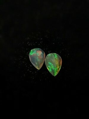 2 Pieces Faceted Opal 7X5 Aaaa Welo Ethiopia Top Grade Rainbow Colors Jewelry