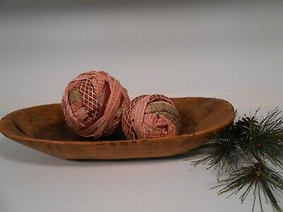 Antique Vintage Rag Balls PAIR Mixed Calico Primitive  AAFA