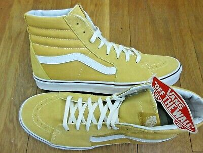 008d6a84958a48 Vans Mens Sk8-Hi Ochre Yellow True White Canvas Suede Skate Shoes Size 13  NWT