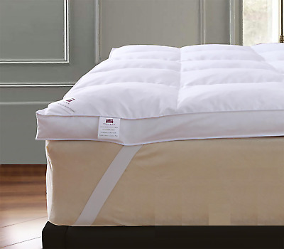 Goose Feather Down Mattress Topper Enhancer Luxury Deep Bed Protector Hotel