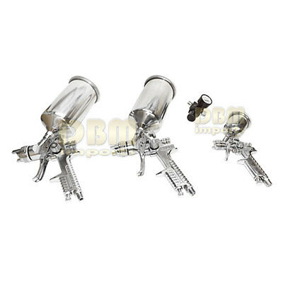 Stainless 4 PCS HVLP Spray Gun Gravity Feed Air Paint Painter Sprayer Regulator