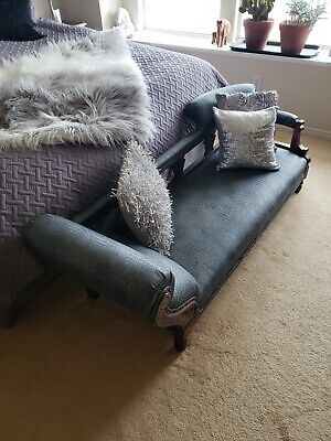 Antique fainting couch in fabulous pewter alligator professionally reupholstered