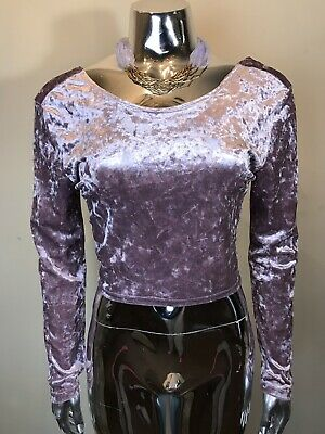 60ca3692c6ada6 EUC Charlotte Russe Womens Long Sleeve Crop Top Pink Velvet Top Sz Large
