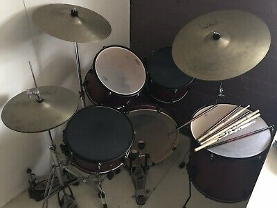 5 Piece Drum Kit Full Size Complete Set Stool Cymbals Snare Drums Sticks.