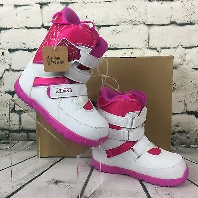 b5d9faa22422 Burton Grom White Pink Flower Kid Size 6 Girls Snowboard Snow Boots Room To  Grow