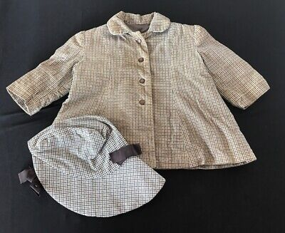 Antique VTG Baby Toddler Children's Plaid Corduroy Tweed Coat and Hat Set  18 mo