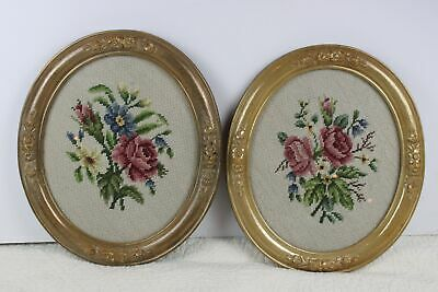 Pair of Framed Needlepoint Roses Flowers Oval Vintage Wall Romantic