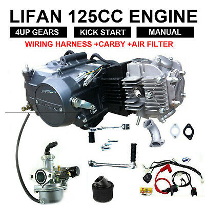 LIFAN 4UP 125cc manual clutch engine, motor, dirt, pit bike, Thumpster,new
