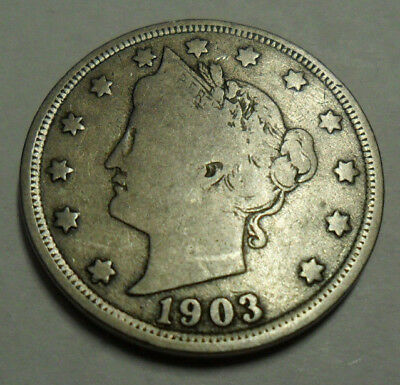 """1903 P Liberty Head """"v"""" Nickel  *ag Or Better*  **free Shipping**"""