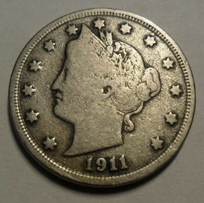 "1911 P Liberty Head ""v"" Nickel  *ag Or Better*  **free Shipping**"