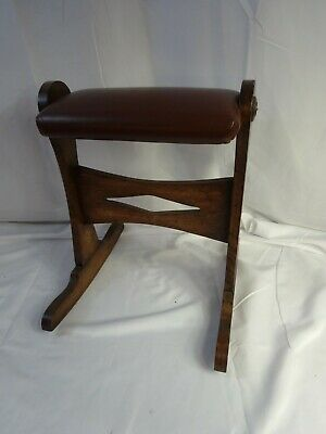 Antique ENGLISH Leather Topped Rocking GOUT FOOT REST Footstool Stool Ottoman