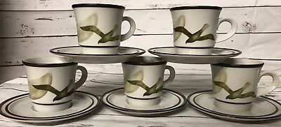 Noritake Moon Flight Stoneware Cups And Saucers; 5Cups 5saucers VGUC!!