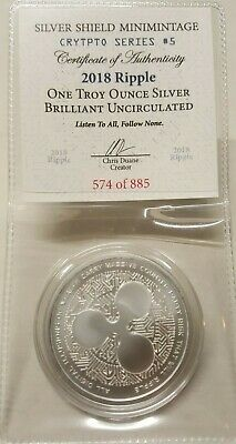 1oz Silver Shield Ripple BU Silver Round Coin #5 Crytpto Series Cryptocurrency