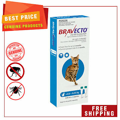 BRAVECTO Spot ON For Cats 2 Pipettes BLUE 2.8 to 6.25 Kg Flea Tick Treatment