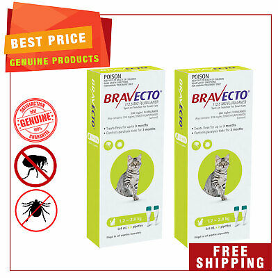 BRAVECTO Spot ON For Cats Green 4 Pipettes 1.2 to 2.8 Kg Tick FleaTretment