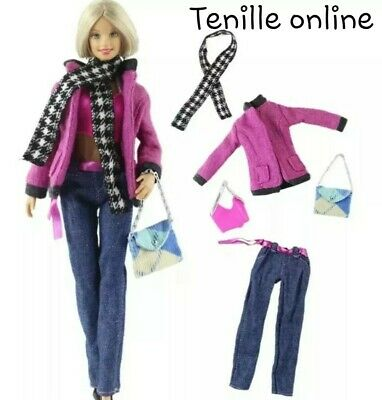 New Barbie clothes complete outfit princess wedding fashion shoes scarf pink