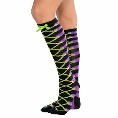 Womens Mad Hatter Lace Up Halloween Carnival Adult Socks Pair Green Bow Black