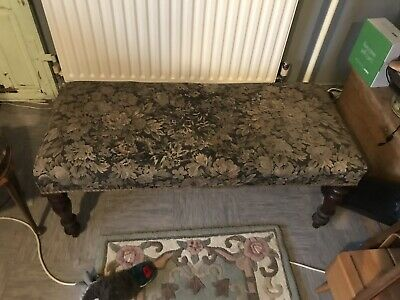 Antique Mahogany Frame Window Seat Hand Carved Legs